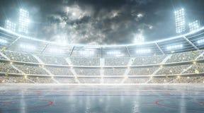 曲棍球体育场 冰球竞技场 在月亮下的夜体育场与光、爱好者和旗子 库存例证