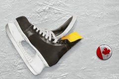 曲棍球冰鞋和顽童 免版税库存图片