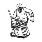 曲棍球守门员的例证 设计商标的,标签,象征,标志,海报,横幅元素 卡片,T恤杉 向量例证