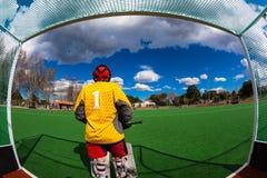 曲棍球守门员Astro五颜六色的视图学校德比 图库摄影