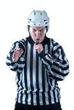 曲棍球裁判员展示一个目标信号 库存照片