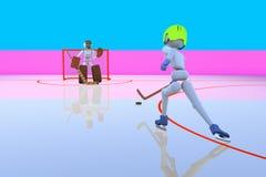 曲棍球运动员攻击门 向量例证