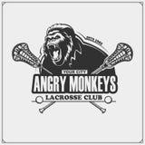 曲棍网兜球与大猩猩头的俱乐部象征 库存例证