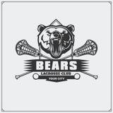 曲棍网兜球与熊头的俱乐部象征 皇族释放例证