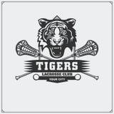曲棍网兜球与老虎头的俱乐部象征 库存图片
