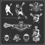 曲棍网兜球俱乐部标签、象征、设计球员的元素和剪影 库存例证