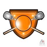 曲棍网兜球球用横渡的曲棍网兜球棍子在盾的中心 被隔绝的任何队或冠军的体育商标 库存例证