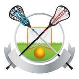 曲棍网兜球象征和横幅设计 皇族释放例证