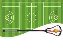 曲棍网兜球领域和棍子例证 皇族释放例证