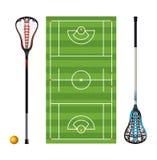 曲棍网兜球领域和棍子和球 皇族释放例证