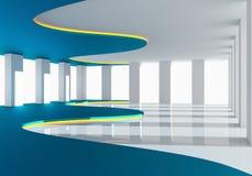 曲线蓝色空的室 库存图片