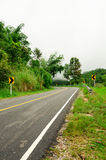 曲线路和雨林在泰国山 免版税库存图片