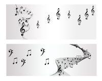 曲调、笔记和音乐传染媒介横幅 免版税图库摄影