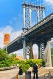 更低的曼哈顿的纽约视图和曼哈顿跨接ac 免版税库存照片