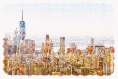 更低的曼哈顿NYC鸟瞰图  向量例证