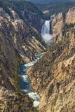 更低的黄石落黄石国家公园怀俄明美国 免版税库存照片