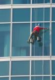更加干净的登山人视窗 库存照片