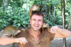 更加温驯的训练animales在动物园里 库存图片