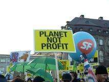 更改气候演示联合国 免版税库存照片