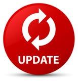 更新红色圆的按钮 免版税库存照片