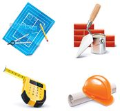 更新集合向量的3个homebuilding的图标零件 免版税库存图片