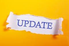 更新,诱导事务措辞行情概念 免版税图库摄影