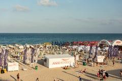 曼加利亚海滩视图 库存图片