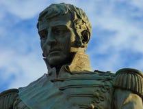 曼努埃尔・贝尔格拉诺,阿根廷` s旗子的创作者将军雕象  库存照片