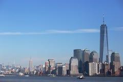 曼哈顿、一个世界贸易中心和帝国状态 免版税库存照片