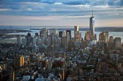 曼哈顿从帝国大厦的街道视图在纽约 免版税库存图片