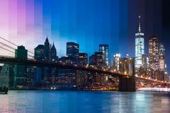 曼哈顿和布鲁克林大桥 夜间 意想不到的拼贴画 库存照片