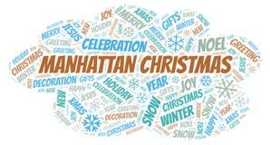 曼哈顿圣诞节词云彩 库存例证