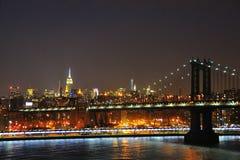 曼哈顿在晚上,纽约 免版税库存图片