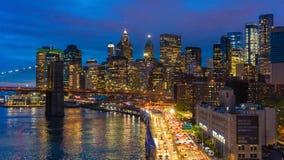 曼哈顿地平线和布鲁克林大桥Hyperlapse录影  股票录像
