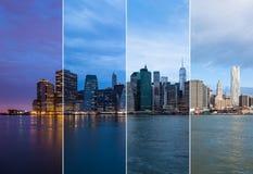 曼哈顿地平线夜蒙太奇对天-纽约-美国 免版税库存图片
