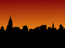 曼哈顿地平线日落 免版税图库摄影