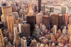 曼哈顿地平线日落 免版税库存照片