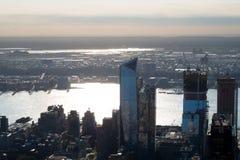 曼哈顿地平线, skyscrappers,大厦全景照片  库存图片