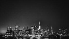 曼哈顿夜视图从布鲁克林Heights散步的 库存图片