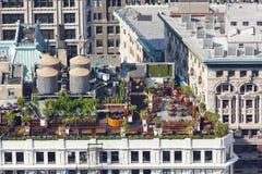 曼哈顿屋顶庭院,社论 免版税库存图片