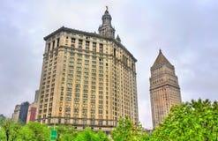 曼哈顿市政大厦和瑟古德・马歇尔美国法院大楼在纽约 库存图片