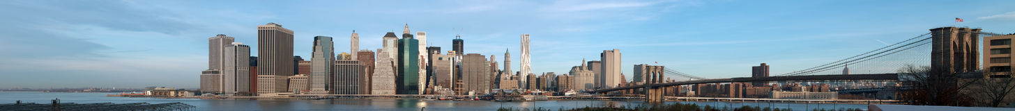 曼哈顿新的全景日出约克 免版税库存照片