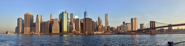 曼哈顿日出全景 免版税库存照片