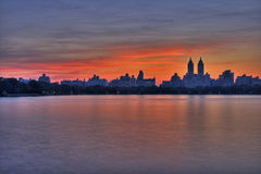 曼哈顿日落 库存图片