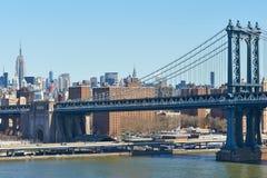 曼哈顿桥梁和地平线视图从布鲁克林大桥 免版税库存图片
