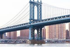 曼哈顿桥梁和地平线视图从布鲁克林日落的 库存照片