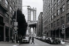 曼哈顿桥梁看法从布鲁克林的在纽约 免版税图库摄影