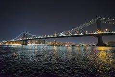 曼哈顿桥梁纽约在晚上 库存图片
