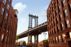 曼哈顿桥梁纽约从布鲁克林的NY NYC 免版税库存照片