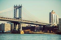 曼哈顿桥梁,布鲁克林边,纽约 免版税库存照片